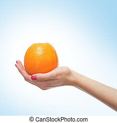Beautiful female hands with the orange isolated on white -...