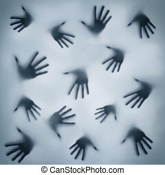 Frightening silhouette of hands - Frightening silhouette of...