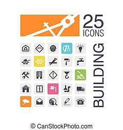 Flat building icons for werb Vector illustration