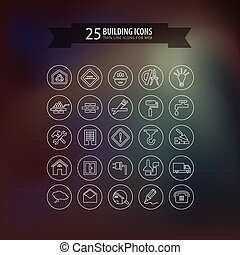 Round think line building icons for web. Vector illustration