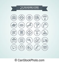 Round think line building icons. Vector illustration