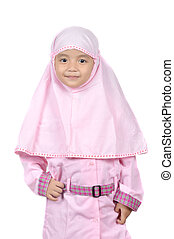 Moslem little girl wearing pink hijab clothes isolated on...