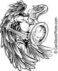 Angel drawing - An illustration of a warrior angel character...