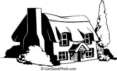 Country cottage illustration of a cute country or farem...