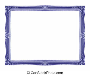 Blue picture frame on white background.