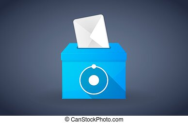 Blue ballot box with an atom - Illustration of a blue ballot...