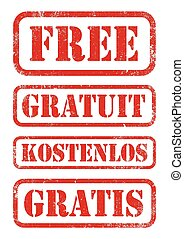 "Free stamps - Vector illustration of ""Free"" red stamps in..."