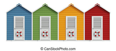 Colorful beach cabins isolated on white - 3D Rendering