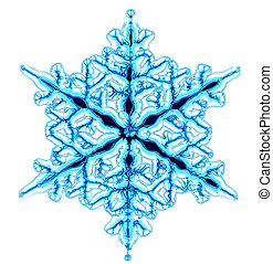 snow flake - abstract blue snowflake isolated on the white...