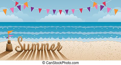 Summer Text made from Sand on Beach - Summer Beach, Sea,...