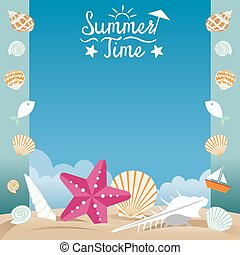 Summer Beach with Sea Shell