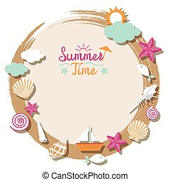 Sea Shell and Summer Objects Icons - Summer Beach, Sea,...