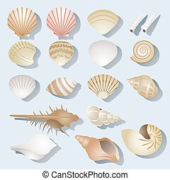 Sea Shell Objects Set - Summer Beach, Sea, Sand, Sun Set