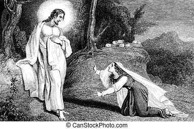 Jesus Christ appearing to Mary Magd - An engraved...