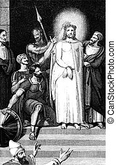 Jesus Christ Crowned With Thorns - An engraved illustration...