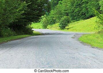 Empty rural road in summer