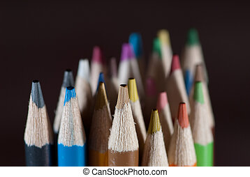 Pencils on black - Group of colorful pencils on black...