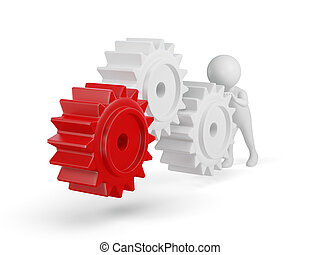 3d small person rolls a large gears 3d image Isolated white...