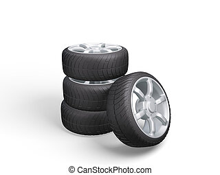Car Wheels. Concept design. 3D render Illustration on White Background.