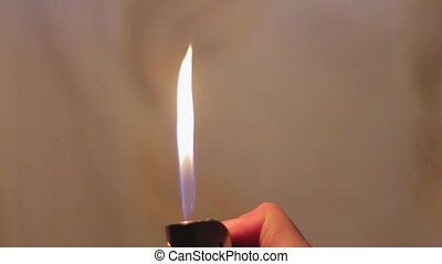Lighter and fire - Inflammation lighters using hands man