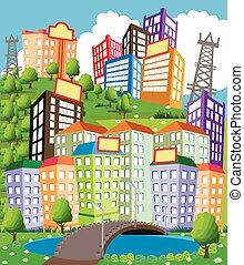 Cartoon City - Cartoon illustration of a modern city with...