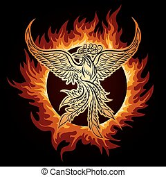 Phoenix in Flame - The Phoenix flying in ring of fire.