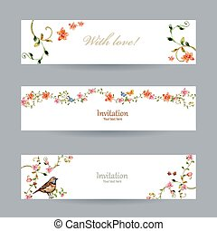 collection cards with foliate ornament and flowers...