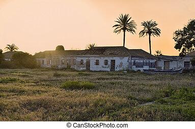 Sunset abandoned fishing village