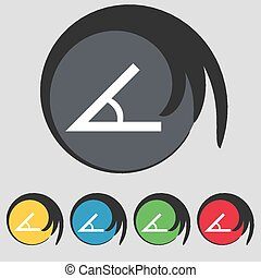 Angle 45 degrees icon sign Symbol on five colored buttons...