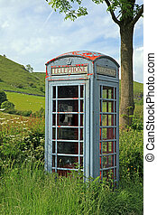 Phone-box - Old phone box in the hills in England
