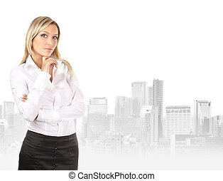 Young attractive businesswoman over urban background...