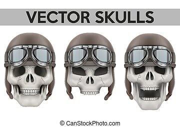 Set of Human skulls with retro aviator or biker helmet...