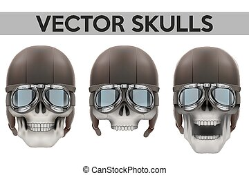 Set of Human skulls with goggles and helmet Vector...