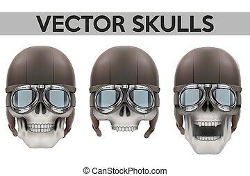 Set of Human skulls with goggles and helmet. Vector...