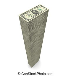Big Pile of Money � 5 Dollar Notes - massive money pile of...