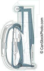 Font illustration LETTER d - Font illustration lowercase...