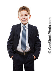 Smiling child boy in business suit - Handsome smiling child...