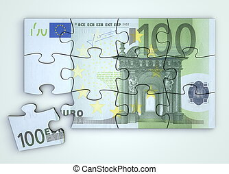 100 Euro Note Puzzle - Top View - 100 Euro note as a puzzle...