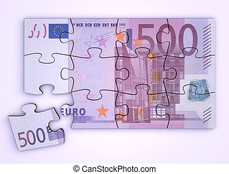 500 Euro Note Puzzle - Top View - 500 Euro note as a puzzle...
