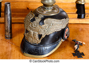 German army helmet (Pickelhaube) from the First World War on...
