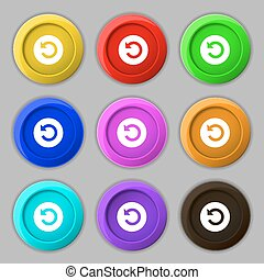 icon sign. symbol on nine round colourful buttons. Vector