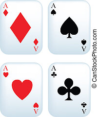 set of aces - Set of aces playing cards on white background