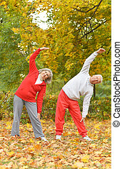 fit senior couple - Happy fit senior couple exercising in...
