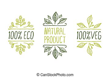 Hand-sketched typographic elements Natural product labels...