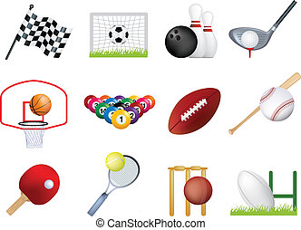 Sports icon set - Deatiled illustration of a series of world...