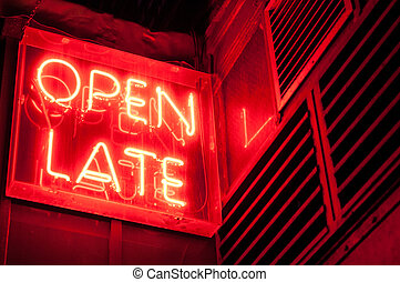 Open Late Sign - Red Neon Open Late Sign