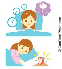 Insomnia, sleeplessness, woman, vector file