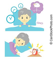 Insomnia, sleeplessness, old woman, vector file