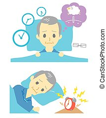 Insomnia, sleeplessness, old man, vector file