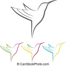 Colored stylized colibri - Vector Colored Stylized Tropical...